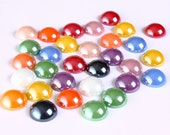12mm mixed color plated pearlized finish round glass cabochons - 11mm to 12mm - 20 pieces (1305) - Flat rate shipping