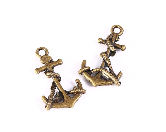 19mm x 11mm Antique brass anchor charm - anchor pendant - cadmium free - 5 pieces (1263) - Flat rate shipping