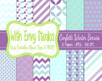 SALE Purple and Blue Scrapbook Paper Pack - Purple and Blue Digital Paper Pack - Patterned Paper Pack - Commercial Use Ok