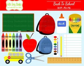 50% OFF  Back To School Digital Clipart Set - School Clip Art - Classroom Clipart - School Graphics - Commercial Use