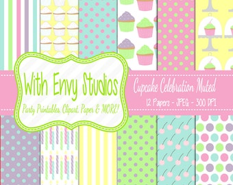 50% OFF  Cupcake Scrapbook Paper - Cupcake Digital Paper - Pastel Digital Paper - Commercial Use