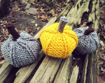 Yellow Pumpkins Knitted Crochet Autumn Thanksgiving Festive Decor Gray Yellow Fall Decoration Set of Three Grey