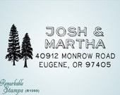 Custom Return Address Stamp - Pine Fir Cedar Trees  - Etsy Design (R1099) - Two Trees