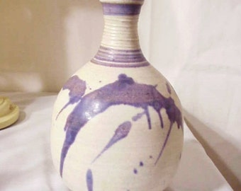 Marjorey Bankson Original Purple Pottery Vase/ Listed Artist