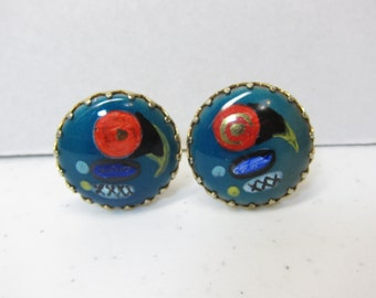 Vintage Hand Painted Parrot Earring