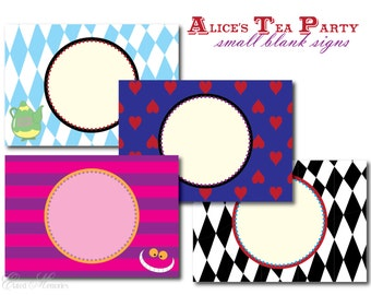 Alice's Tea Party Small Blank Signs - DIY Food Labels  - Alice In Wonderland Printable Party