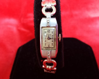 Magnificent Collector's Item Dainty Art Deco BULOVA 14K White Gold 6 Diamonds Ladies Watch SERVICED Look and Shop for Birthdays Christmas
