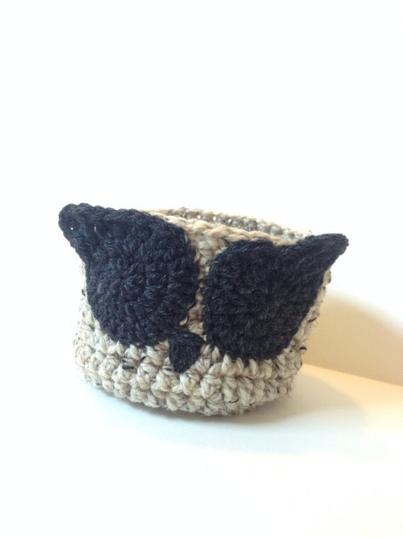 Owl basket, crochet owl basket, crochet basket, small basket, owl ...