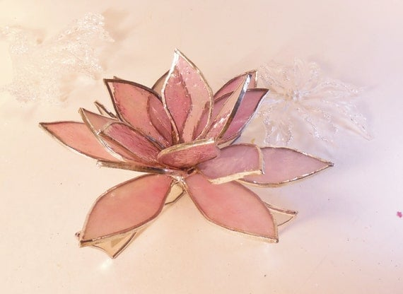 3D Pink Lotus Flower. Stained Glass