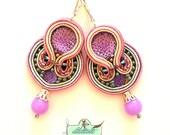 Soutache Earrings- Lavender Earrings- Beaded Earrings-Silver Crystal Statement Earrings - Long Dangle Earrings- Soutache set
