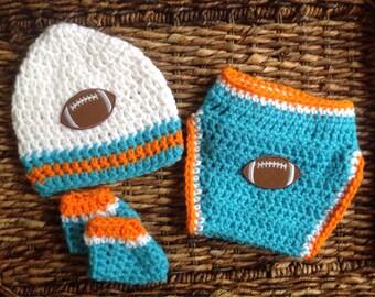 Crochet Miami Dolphins Football Theme Baby Diaper Cover Beanie Gift Set