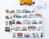 Vintage Trailer Caravan Fabric Fat Quarter, Multi Colored