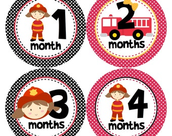 Baby Month Stickers Monthly Stickers Girl Monthly Bodysuit Stickers Baby Shower Gift Photo Prop Baby Milestone Sticker - Girl Firefighter