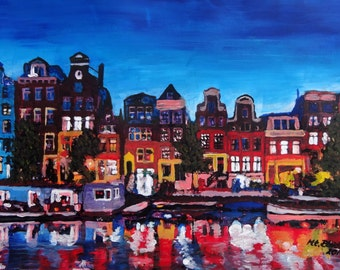 Amsterdam Skyline With Canal At Night - Limited Edition Fine Art Print