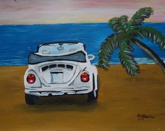 The VW Bug Series - The White Volkswagen Bug at the Beach - Limited Edition Fine Art Print
