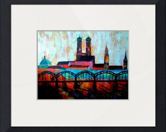 Munich Central Station with Hackerbridge and Church of our Lady - Limited Edition Fine Art Print