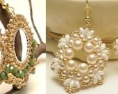 SuperDuo Bead TUTORIAL, double earrings tutorial with Sueperduo beads,seed beads,Swarovski pearl,fire polish