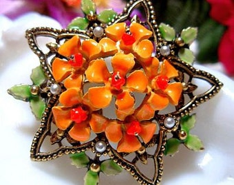 "Spring Brooch Pin Signed ART Orange Green Enamel Pearl Beads Gold Metal 1 3/4"" Vintage"