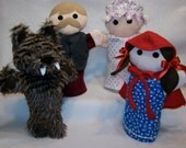"Set of 4 Little Red Riding Hood Fleece 11"" Hand Puppets"