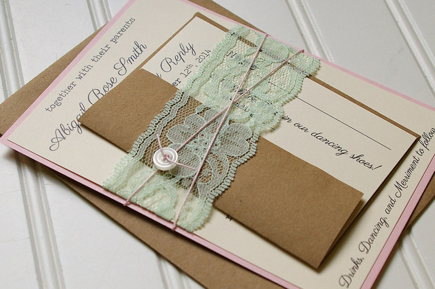 Wedding Invitations Handmade: Rustic Lace Wedding Invitations: Unique Handmade Rustic