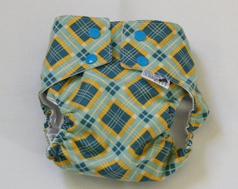 Blue and Yellow Argyle Water Resistant Diaper Cover Available in Small and Medium