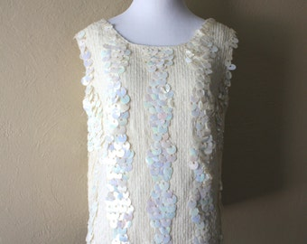 Vintage Ivory Sequined Beaded Sweater