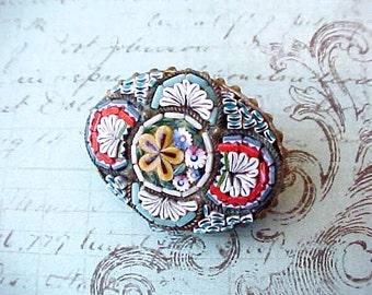 "Lovely Vintage Italian Micro Mosaic Brooch Marked ""Italy"""