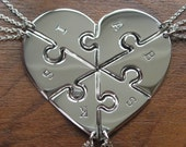 Six Piece Heart with Initials, Pendant Necklaces