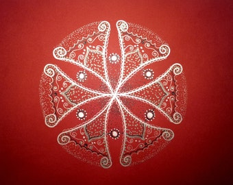 "Original Mandala, Vitality RED Power, Sacred Geometry, Free Style, Ispiringy, 6.5"" Shining, Signed by artist: Zoharit.R. SALE"