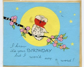 Great vintage Birthday card with Wise Old Bird-Owl