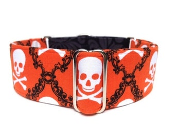 "Damask Skulls Halloween Dog Collar - 1"" or 1.5"" Orange & Black Skull and Crossbones, Black Damask Martingale Collar or Buckle Collar"