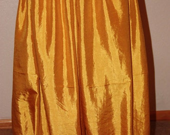 Gold pants in washable silk for belly dance harem pants bloomers pantaloons tribal renaissance