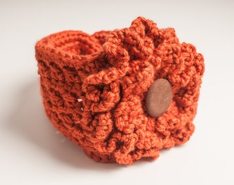 Pumpkin Orange Headband, Soft Headband with Large Ruffle Flower Attached