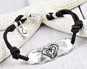 Follow Your Heart Bracelet -Inspirational Bracelet-Leather Boho Bracelet - B301