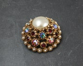 Funtabulous Multi Coloured Aurora Borealis Coated Rhinestone And Faux Pearl Brooch