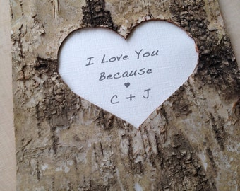 I Love You Because Book - Birch Bark I Love You Because Journal - Rustic Birch Bark Book - Couples Keepsake Journal