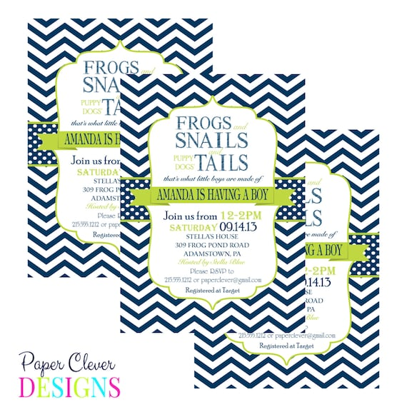 Snail Shower Design Ideas: Boys Baby Shower Invitation Frogs Snails & Puppy By