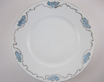 "Plate Dinner 10"" Rosenthal Hand Painted Silver Ribbon Blue Floral"