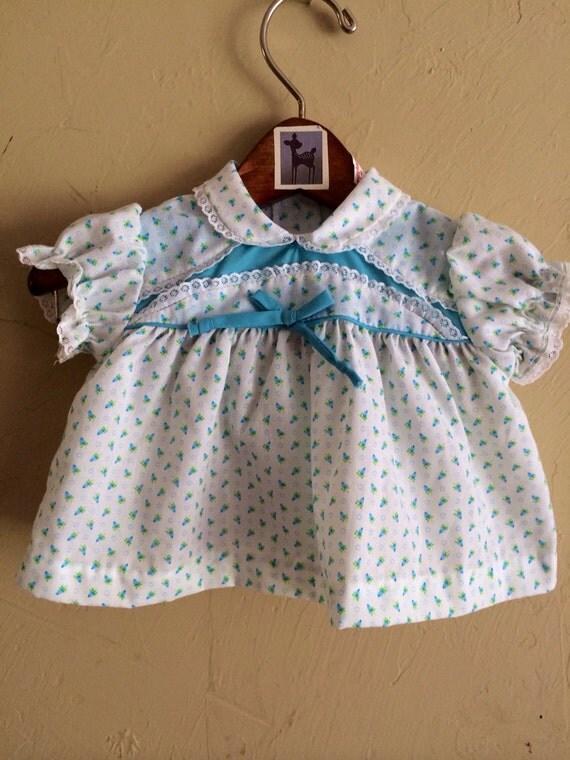Vintage Blue Rosebud Top 0-6 months