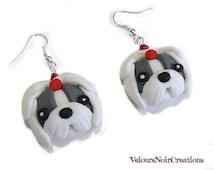shitzu dog earrings handmade  polymer clay
