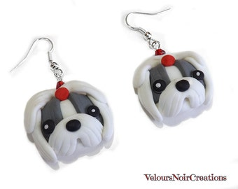 Shih Tzu dog earrings handmade  polymer clay