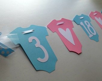 DUE DATE BANNER for New Baby in Onesie and Hearts for Maternity Photo Shoot or Baby Shower for Boy or Girl / Can Customize Colors
