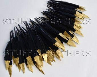 Bulk / Wholesale GOLD dipped black feathers, metallic gold hand painted gold tip real duck feathers / 3-4.5 in (7.5-11.5 cm) long / FB105-3G
