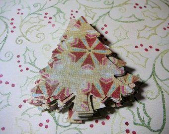 25 Christmas Glitter Snowflake trees , Die Cuts, Embellishments, Tags, Cupcake toppers