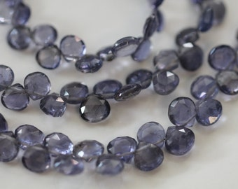 Water Sapphire Iolite Faceted Heart Briolettes, 6 - 7 mm, 6 beads GM1601FH/7/6