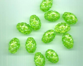 Twelve very cool vintage West German open work lucite beads - sparkling lime - 24 x 17 mm