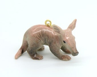 1 - Porcelain Aardvark Pendant Hand Painted Glaze Ceramic Animal Small Ceramic Anteater Bead Jewelry Supplies Little Critterz (CA145)