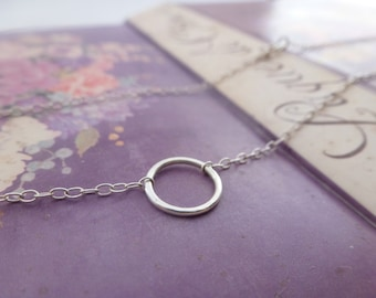 Silver Karma Necklace - Solid Sterling Silver 925 Eternity Infinity Forever Circle Ring Friendship Necklace Handmade