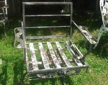 Vintage lawn chairs 1950s metal folding chairs by 86home on etsy - Clearnace Sale 50 Off Antique 3 Legged Metal Lawn Chair
