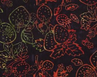 SALE - Moda Fabrics - Eat Your Fruits and Veggies Batik - Juicy Strawberries on Black Batik-Choose Your Cut 1/2 or Full Yard